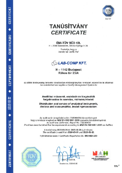 Lab-Comp Kft. ISO 9001:2015 tanusitvany